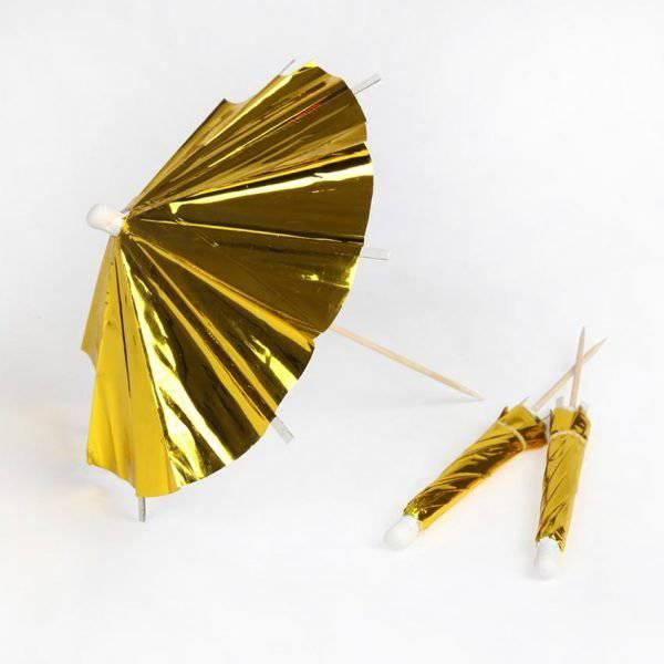 מטריית קוקטייל זהב 12 יח