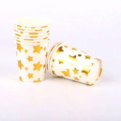 כוסות כוכבים זהב 10 יח
