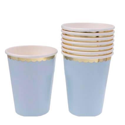 כוסות תכלת זהב 10 יח