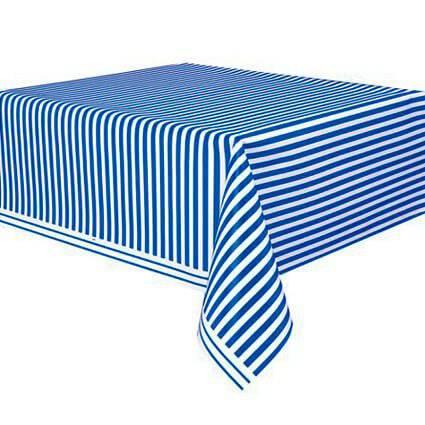 מפת שולחן פסים כחול לבן