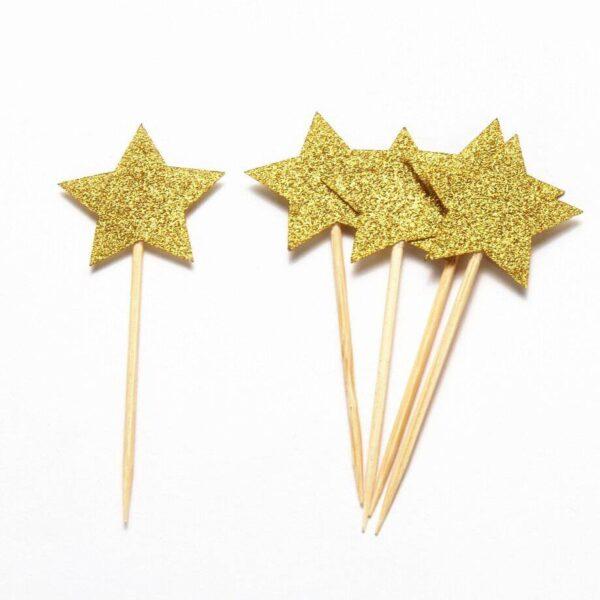 קיסם כוכב זהב גליטר 24 יח