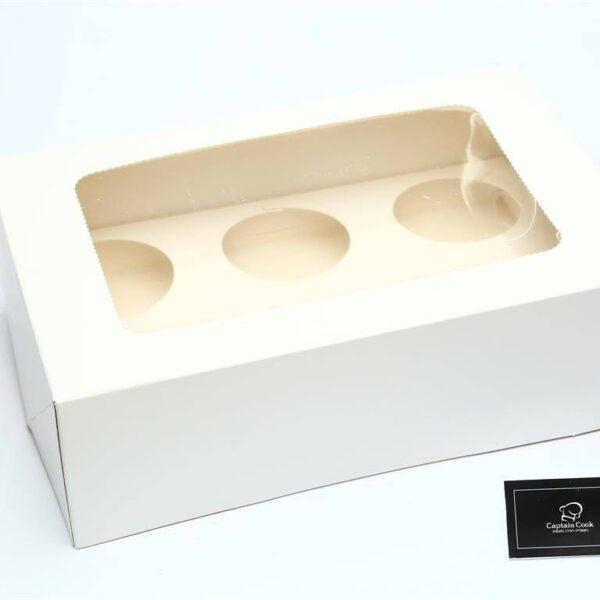 קופסת חלון לבנה ל-6 יח' קאפקייקס