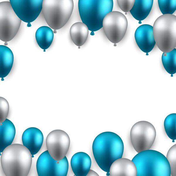 טפט בלונים כחול כסוף