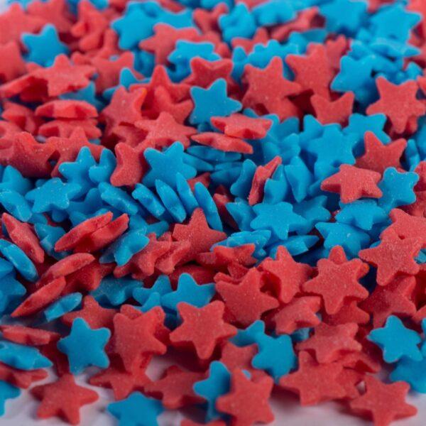 """סוכריות לעוגה כוכב אדום כחול 6 מ""""מ"""