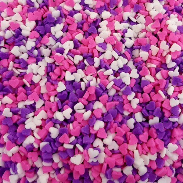 """סוכריות לעוגה לב סגול ורוד לבן 3 מ""""מ"""