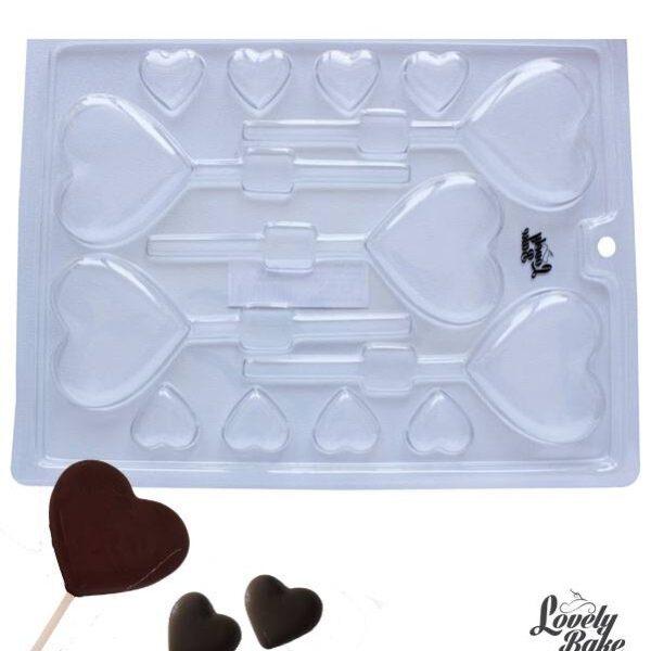 תבנית פלסטיק לשוקולד לבבות על מקל
