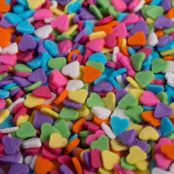 """סוכריות לעוגה לב צבעוני 3 מ""""מ"""