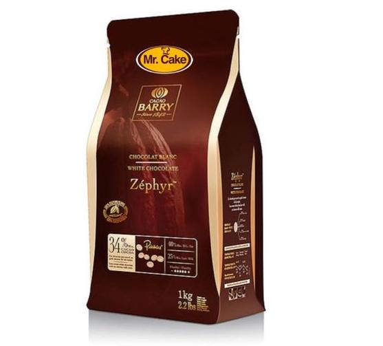 """שוקולד לבן 1 ק""""ג BARRY zephyr  34%"""