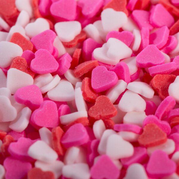"""סוכריות לעוגה לב אדום ורוד לבן 6 מ""""מ"""