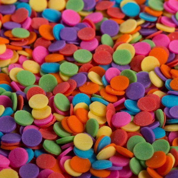 """סוכריות לעוגה עיגול קונפטי צבעוני 6 מ""""מ"""
