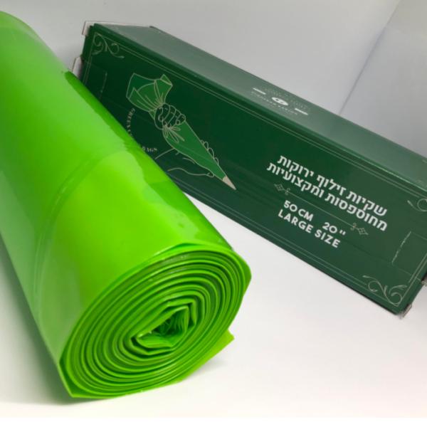 """שקיות זילוף ירוקות מקצועיות 50 ס""""מ בקרטון 72 יחידות"""