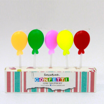 נרות בלונים צבעוניים – 5 יח'