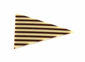קישוט שוקולד משולשים פסים לבן מריר – 100 גרם (איסוף עצמי בלבד)