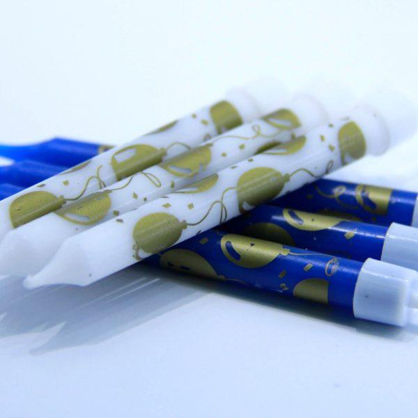 נרות יום הולדת בלונים כחול לבן זהב – 6 יח'