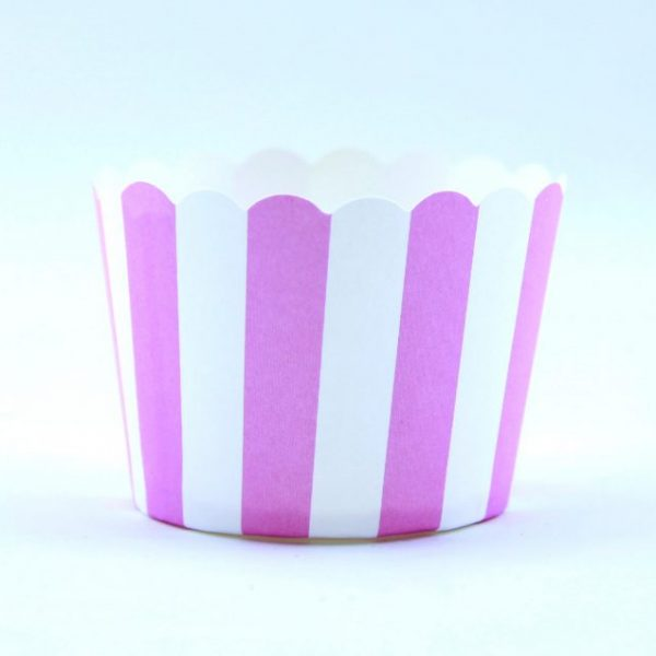 """כוסות אפייה פסים ורוד לבן 50 יחידות – גודל 5 ס""""מ"""