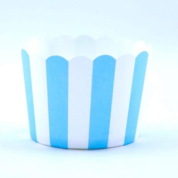 """כוסות אפייה פסים תכלת לבן 50 יחידות – גודל 5 ס""""מ"""