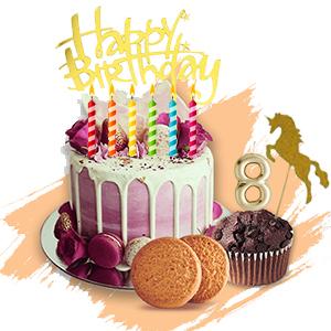 על העוגה -סוכריות וקישוטי שוקולד, טופרים, קישוטים מבצק סוכר,נרות